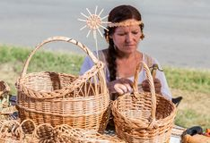 Traditional handmade wicker baskets Royalty Free Stock Photos