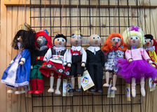 Traditional handmade wooden puppets for sale in Prague Royalty Free Stock Photos