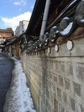Traditional Hanok wall in Seoul. Wall of traditional Korean houses in Bukchon Seoul Stock Photography