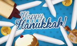 Traditional Hanukkah Candles, Scroll, Sufganiyah, Dreidel and Gelts,  Illustration Stock Image