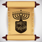 Traditional Hanukkah Elements on Scroll, Vector Illustration Stock Images