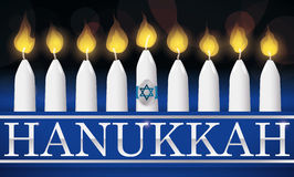 Traditional Hanukkah Lighted Candles with Silver Letters,  Illustration Royalty Free Stock Photography