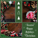 Traditional Happy Holidays and Christmas background collage. Traditional Happy Holidays and Christmas background with pine cones and festive ornaments on dark Royalty Free Stock Photo