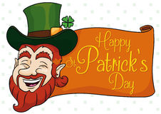 Traditional Happy Leprechaun for St. Patrick's Day, Vector Illustration Stock Photos