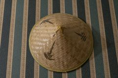 Traditional hat made of bamboo wood royalty free stock photos