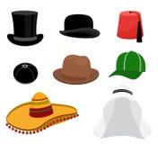 Traditional hat set. Fashion cap, circular headgear, headwear sombrero style. Vector illustration stock illustration