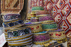 Traditional hats with hand-embroidered Azerbaijan. Art Royalty Free Stock Photo
