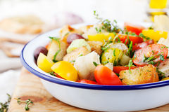 Traditional healthy Panzanella salad with fresh tomatoes and crispy bread Royalty Free Stock Image