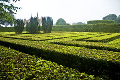 Traditional hedge maze in park. Egeskov castle, Funen island, Denmark Stock Image
