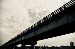 A traditional highway bridge. Isolated structure unique royalty free black and white photo stock photography