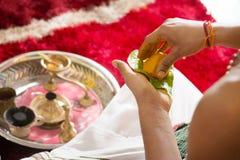 Traditional Hindu religious praying ceremony Royalty Free Stock Photo