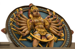Traditional Hindu sculpture. Hindu deity with several arms Royalty Free Stock Photo