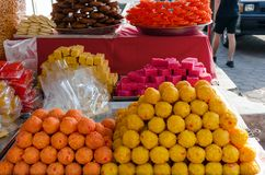 Traditional Hindu sweets, dessert. National cuisine, food shop on street. Kuala Lumpur, Malaysia Royalty Free Stock Photo