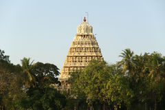Traditional Hindu temple on lake in the city center, South India Royalty Free Stock Photo
