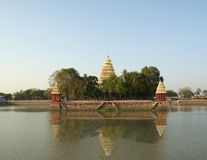 Traditional Hindu temple on lake, South India Stock Photos