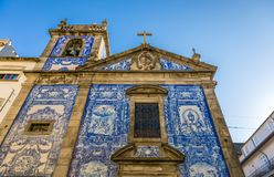 Traditional historic facade in Porto decorated with blue hand pa. Inted tin-glazed tiles, Oporto, Portugal Royalty Free Stock Photos