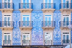 Traditional historic facade in Porto decorated with blue tiles, Portugal. Traditional historic facade in Porto decorated with blue painted tiles, Portugal royalty free stock photo