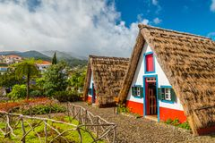 Traditional historic thatched houses with strawy roofs on Madeira island, Santana, Portugal royalty free stock image
