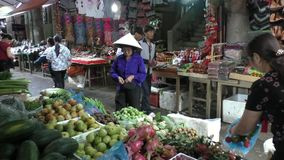 Traditional Hmong people market in Sapa stock video footage