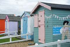 Traditional holiday chalets on the UK coast Stock Photos