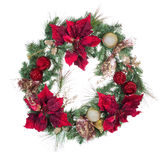 Traditional holiday Christmas wreath isolated on white backgroun Royalty Free Stock Photo