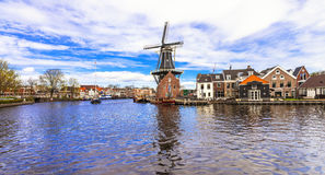 Traditional Holland -canals and windmills (Haarlem) Royalty Free Stock Photography