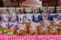 Traditional holland souvenirs at the street shop on the Grote Ma Royalty Free Stock Photo