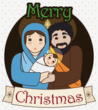 Traditional Holy Family with Greeting Christmas Message, Vector Illustration Royalty Free Stock Photos