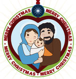 Traditional Holy Family inside a Heart Pendant with Christmas Design, Vector Illustration Stock Image
