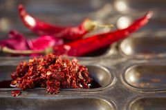 Traditional home-made rose harissa. Morrocan red hot chilles paste stock photo