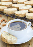 Traditional homemade biscotti with almond and cup of coffee Royalty Free Stock Photography
