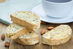Traditional  homemade biscotti with almond and cup of coffee Stock Photo