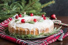 Traditional homemade Christmas cake with garnish cranberry and rosemary on decorative plate stock photos