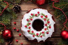 Traditional homemade christmas cake holiday Stock Photos