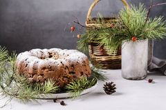 Traditional homemade christmas cake with nuts and dried fruit Stock Photo