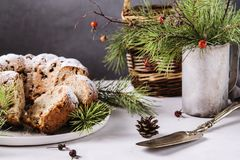 Traditional homemade christmas cake with nuts and dried fruit Royalty Free Stock Photos