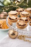 Traditional homemade fruit mince pies stock images