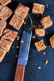 Traditional homemade fudge toffee, cut in squares cubes Royalty Free Stock Image