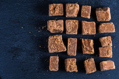 Traditional homemade fudge toffee, cut in squares cubes Royalty Free Stock Images