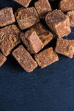 Traditional homemade fudge toffee, cut in squares cubes Royalty Free Stock Photography