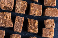Traditional homemade fudge toffee, cut in squares cubes Stock Image