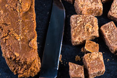 Traditional homemade fudge toffee, cut in squares cubes Stock Photo