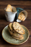 Traditional homemade italian cantucci or cantuccini cookies Royalty Free Stock Images