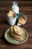 Traditional homemade italian cantucci or cantuccini cookies Stock Photo