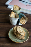 Traditional homemade italian cantucci or cantuccini cookies Royalty Free Stock Image