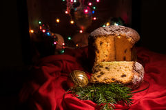 Traditional homemade panettone, sweet bread for Christmas and New Year. Stock Photos