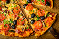Traditional homemade pizza royalty free stock photo