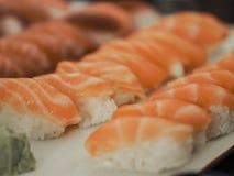 Japanese salmon sushi royalty free stock photo