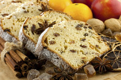Traditional homemade stollen with dried fruits and nuts Stock Photography