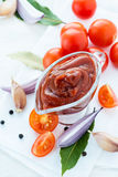 Traditional homemade tomato sauce with ingredients Royalty Free Stock Images